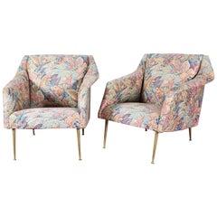 Midcentury Carlo De Carli mod 802 Pair of Lounge Chairs Fabric, 1954, Italy