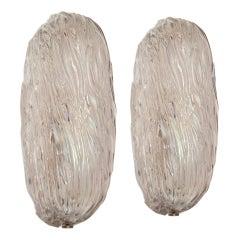 Mid Century Carlo Scarpa Murano Glass Pair of Italian Wall Lights / Sconces