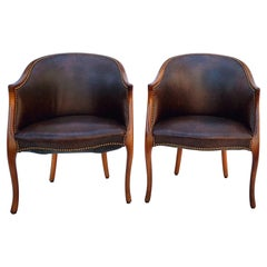 Mid-Century Carved Fruitwood and Leather Club Chairs by Baker Furniture
