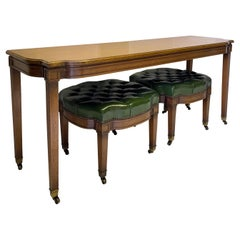 Mid-Century Carved Fruitwood Console Table and 2 Chesterfield Leather Ottomans