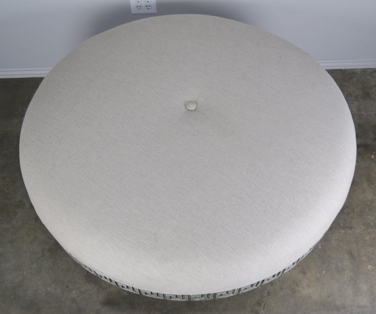 Midcentury Carved Greek Key Round Linen Ottoman For Sale 4