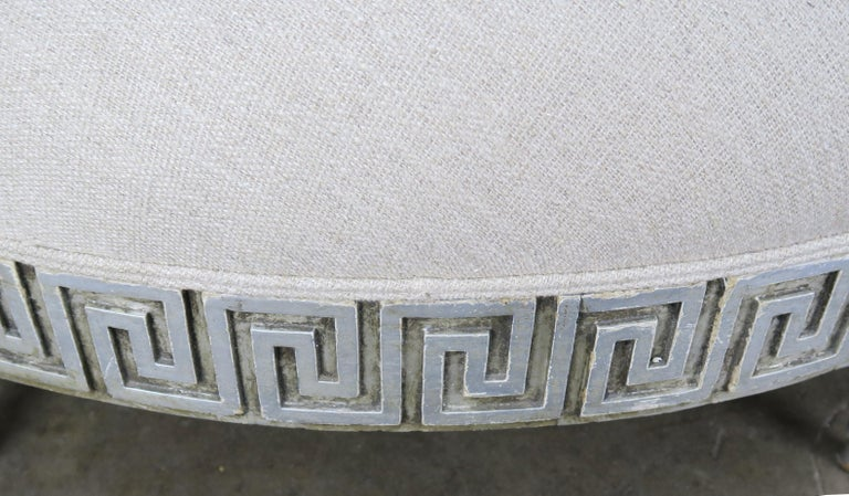 Italian Midcentury Carved Greek Key Round Linen Ottoman For Sale