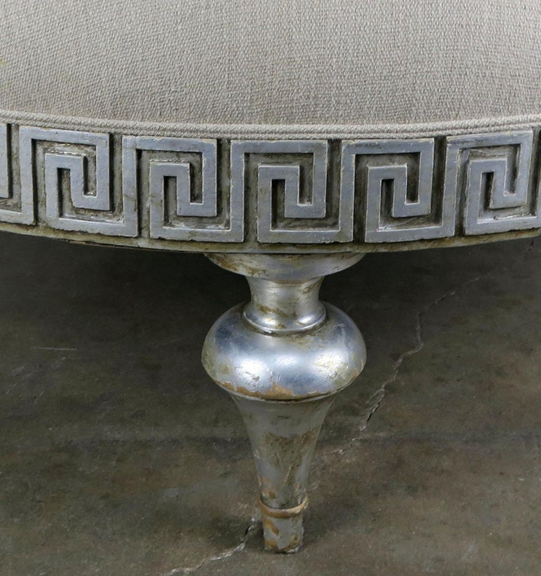Midcentury Carved Greek Key Round Linen Ottoman For Sale 2