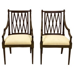 Mid-Century Carved Mahogany Regency Style Arm Chairs, a Pair