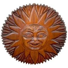 Midcentury Carved Mahogany Sunburst, circa 1960s