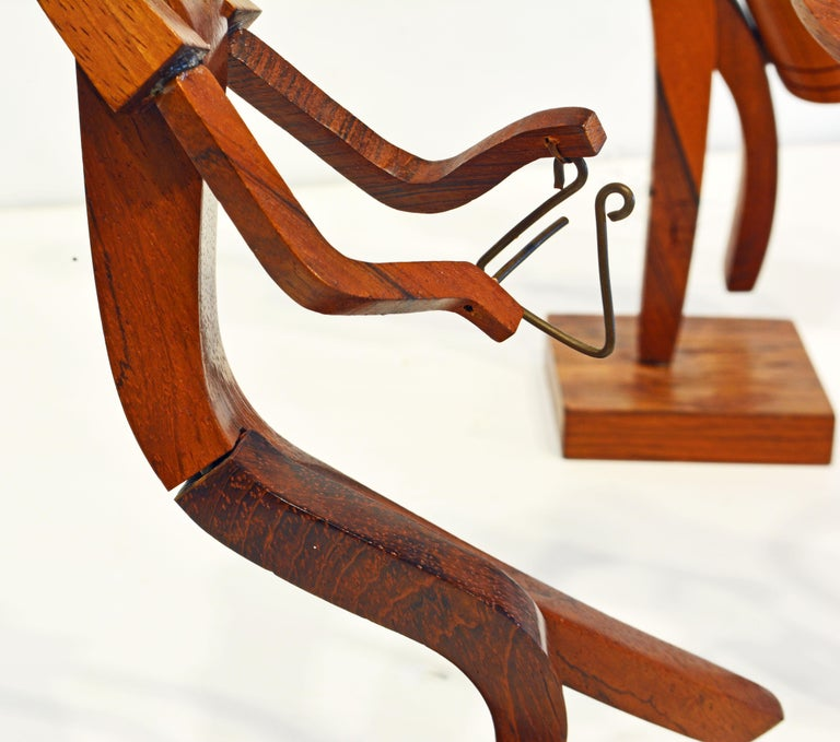 Midcentury Carved Rosewood Latin American Cubist Style Four Musicians Band For Sale 5