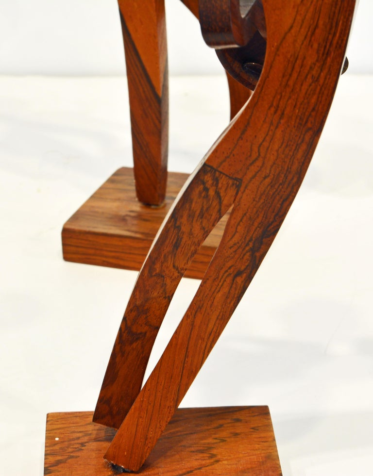 Midcentury Carved Rosewood Latin American Cubist Style Four Musicians Band For Sale 6