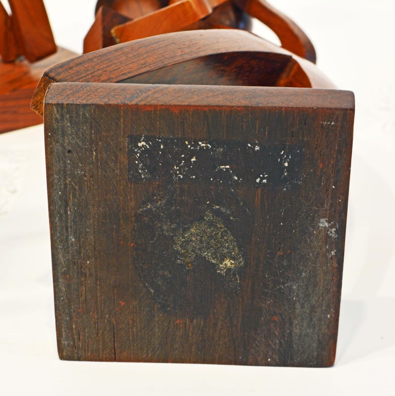 Midcentury Carved Rosewood Latin American Cubist Style Four Musicians Band For Sale 7
