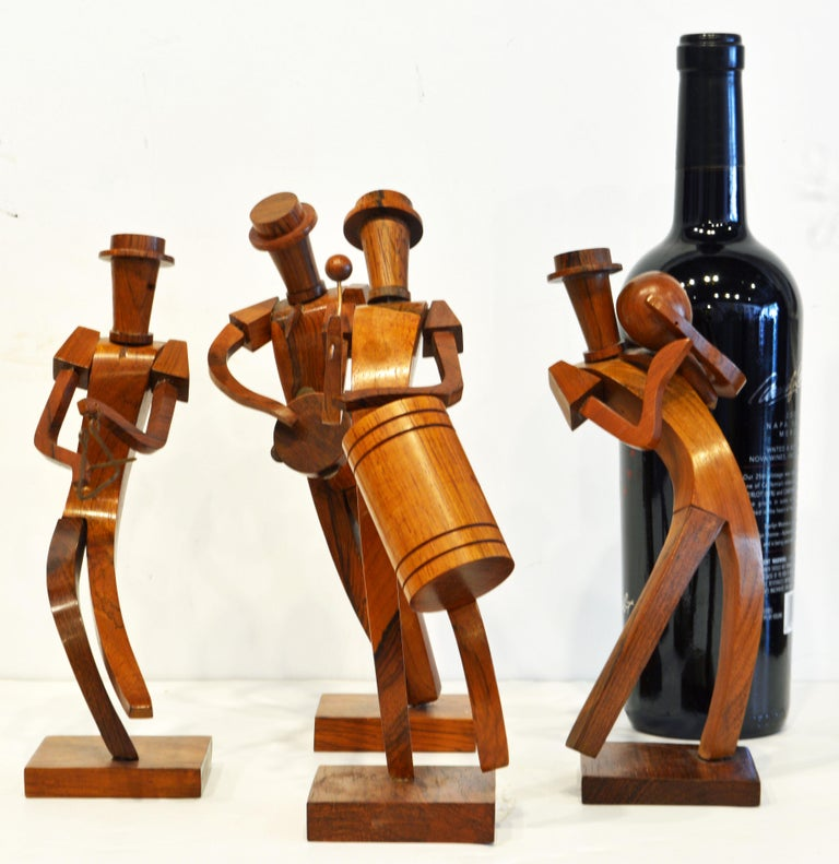 Midcentury Carved Rosewood Latin American Cubist Style Four Musicians Band For Sale 8