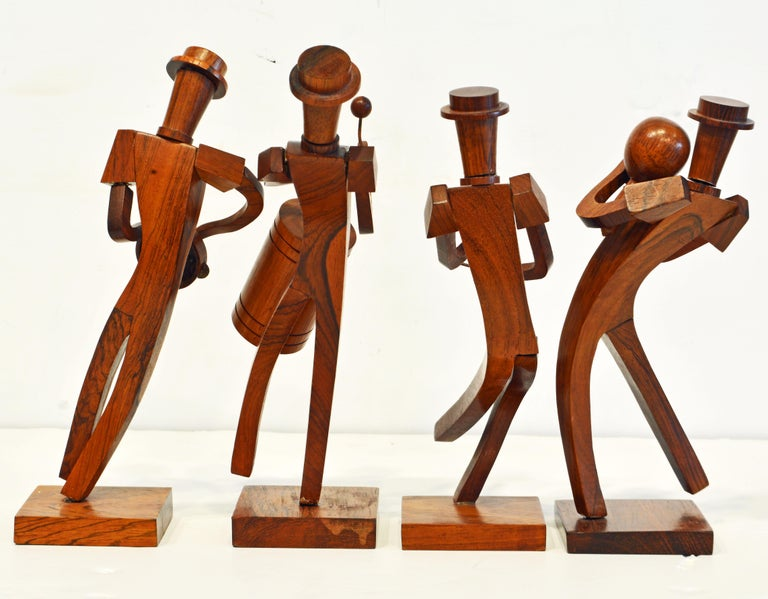 Mid-Century Modern Midcentury Carved Rosewood Latin American Cubist Style Four Musicians Band For Sale