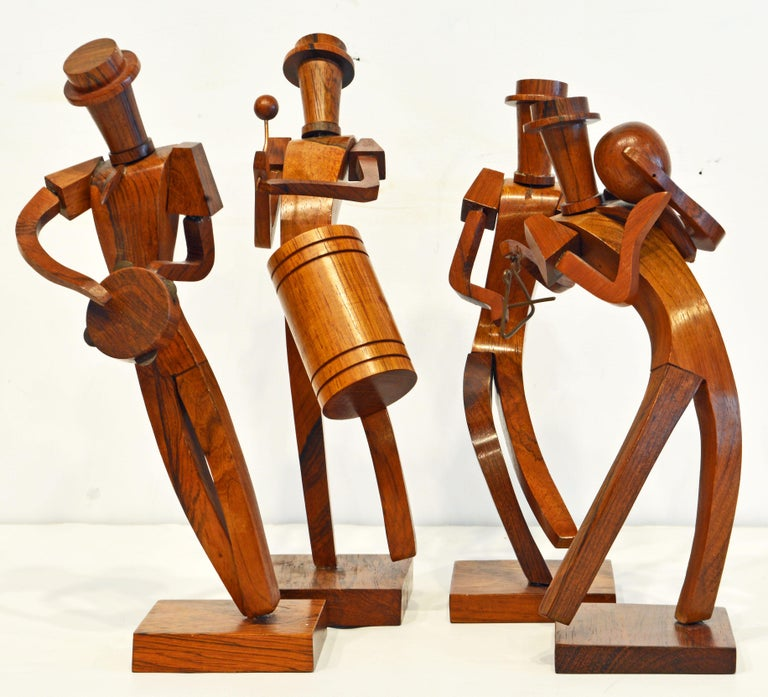 Central American Midcentury Carved Rosewood Latin American Cubist Style Four Musicians Band For Sale