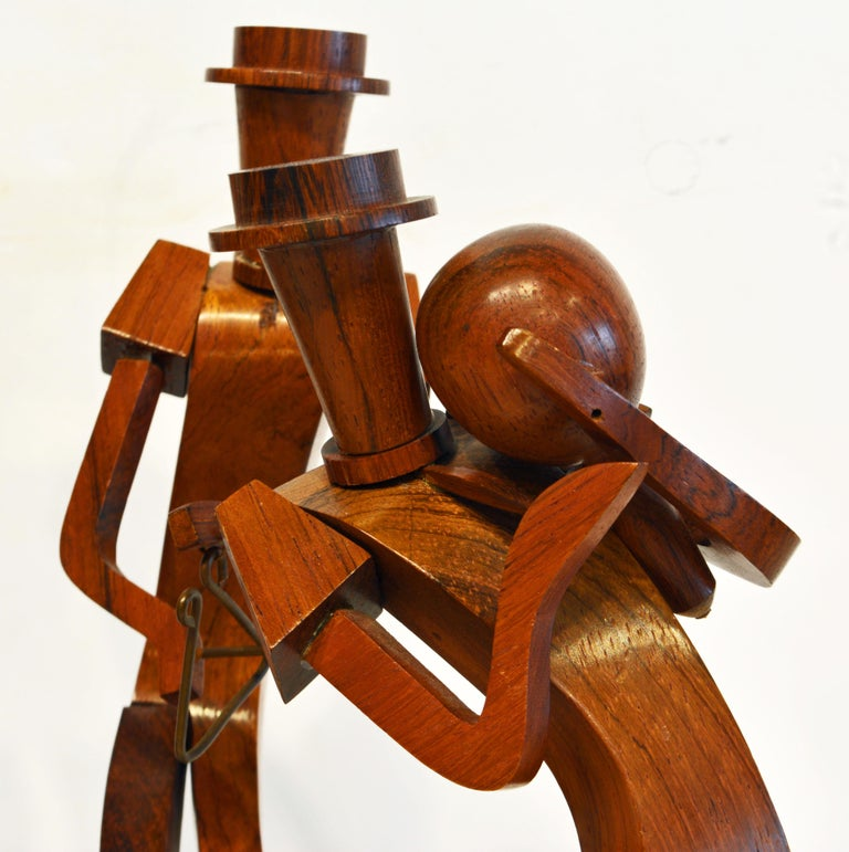 Midcentury Carved Rosewood Latin American Cubist Style Four Musicians Band In Good Condition For Sale In Ft. Lauderdale, FL