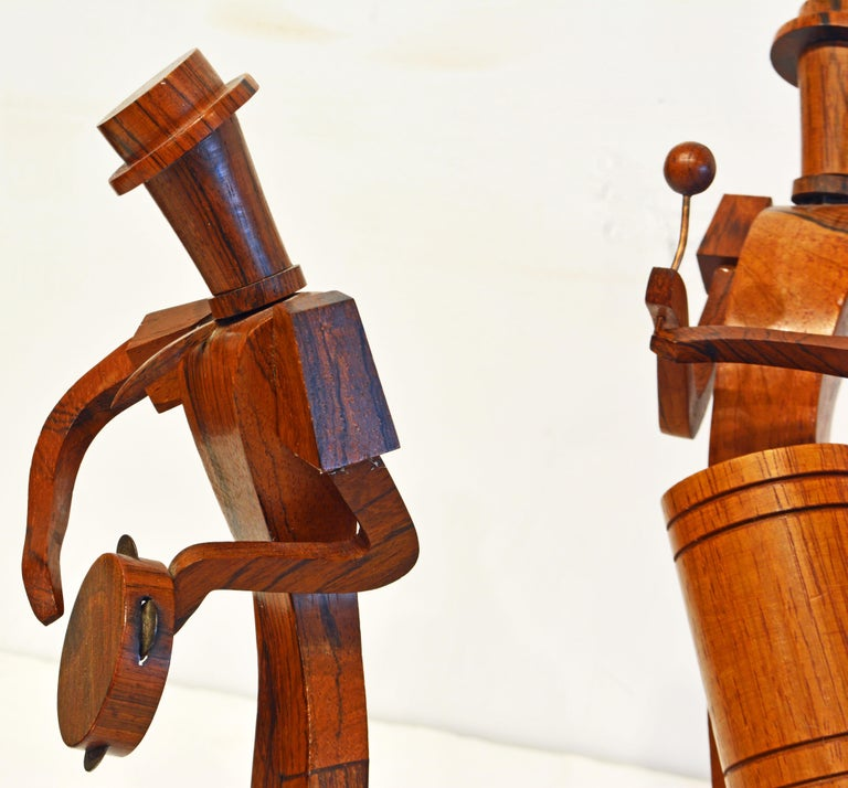 19th Century Midcentury Carved Rosewood Latin American Cubist Style Four Musicians Band For Sale