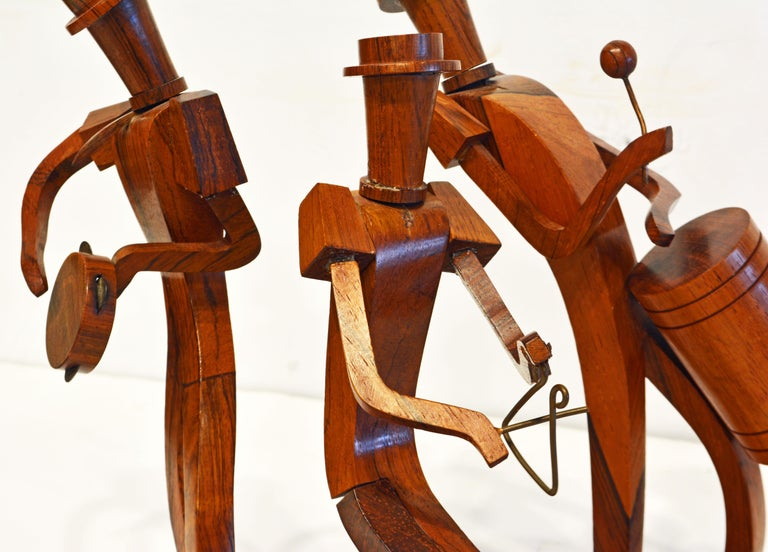 Midcentury Carved Rosewood Latin American Cubist Style Four Musicians Band For Sale 2