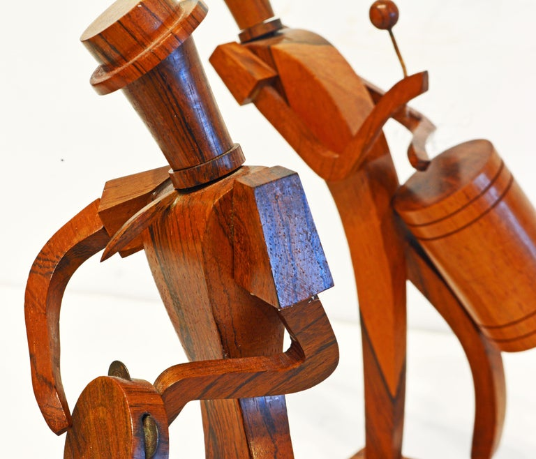 Midcentury Carved Rosewood Latin American Cubist Style Four Musicians Band For Sale 3
