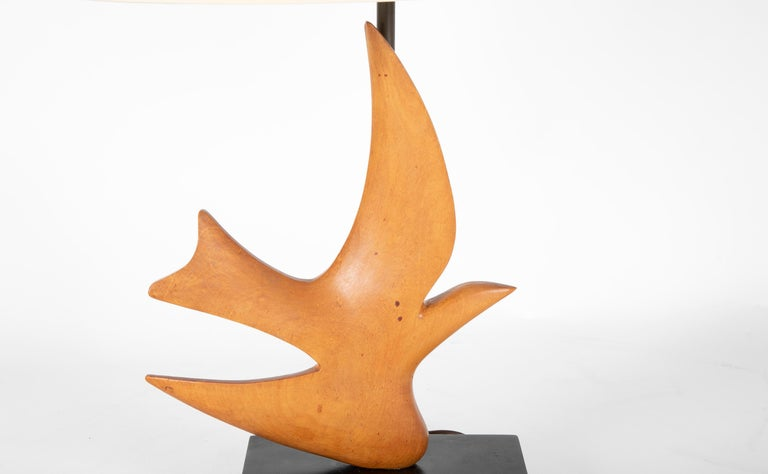 French Midcentury Carved Wood Lamp Inspired by 'Oiseau de Braque' For Sale