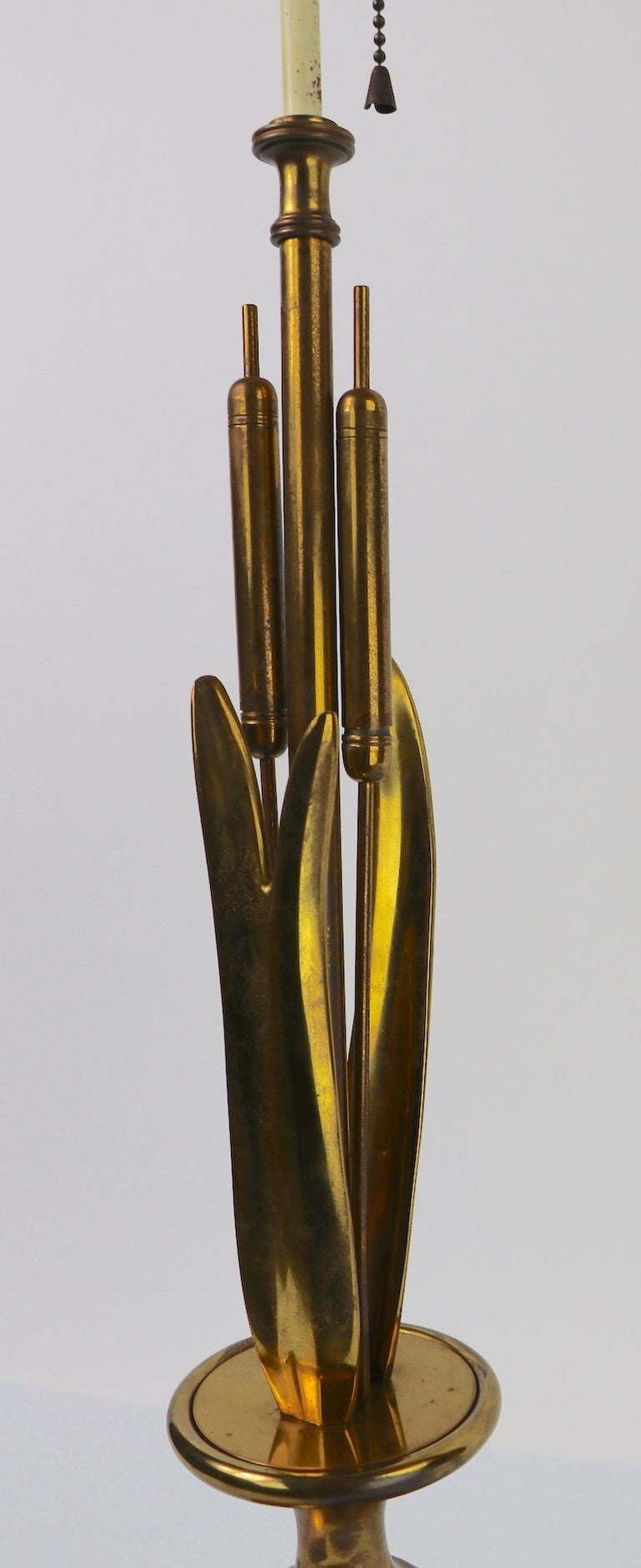 American Mid Century Cattail Table Lamp For Sale