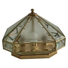 Midcentury Ceiling Lamp in brass and Glass, Italy, 1970s