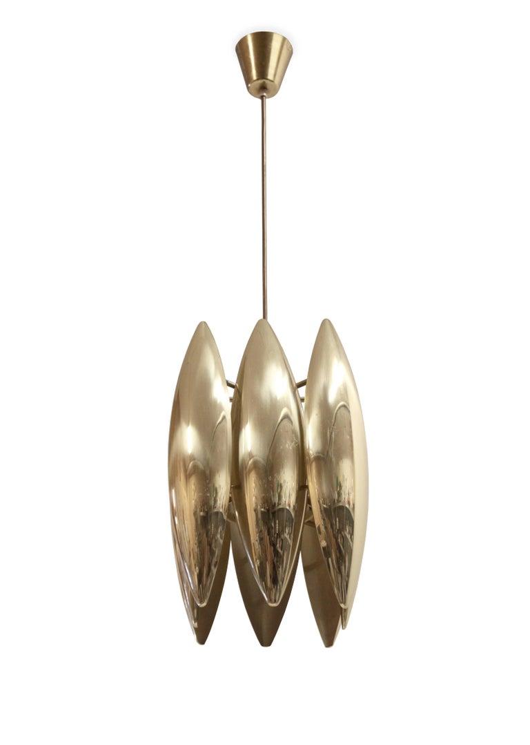 Mid-Century Modern Midcentury Ceiling Light in Brass by Jo Hammerborg for Fog & Mørup, 1960s For Sale