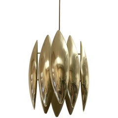 Midcentury Ceiling Light in Brass by Jo Hammerborg for Fog & Mørup, 1960s