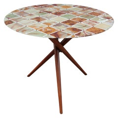 Midcentury Center Table with Fine Inlaid Stone Top
