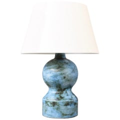 Midcentury Ceramic Blue Table Lamp by Jacques Blin, circa 1950s, Small