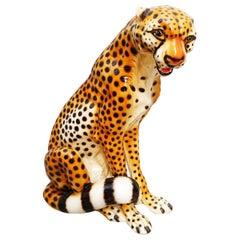 Mid-Century Ceramic Cheetah Leopard Sculpture, Italy, 1960s