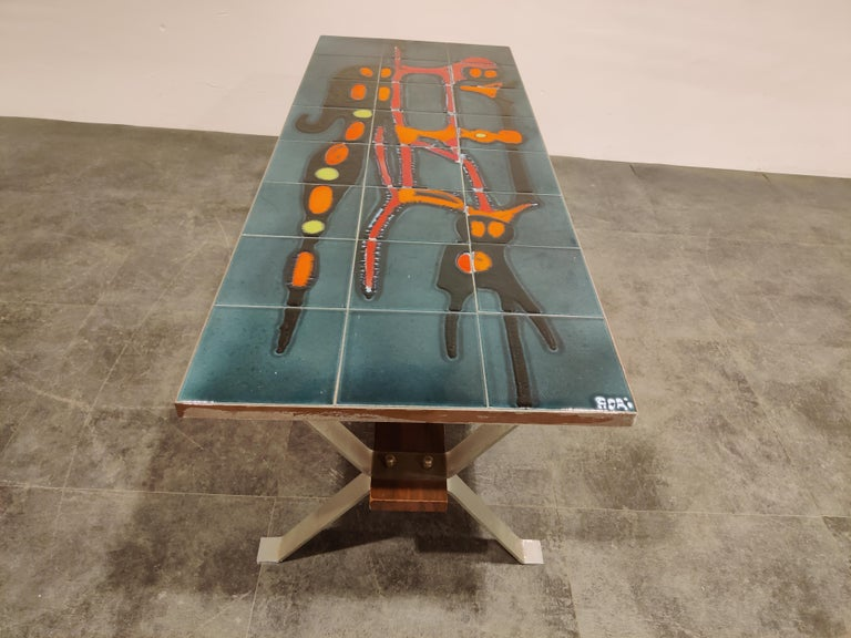 Mid-Century Modern Midcentury Ceramic Coffee Table by Adri, 1960s For Sale