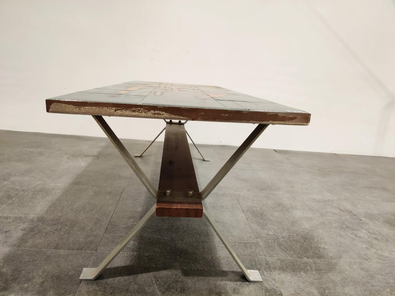 Midcentury Ceramic Coffee Table by Adri, 1960s In Fair Condition For Sale In Ottenburg, BE