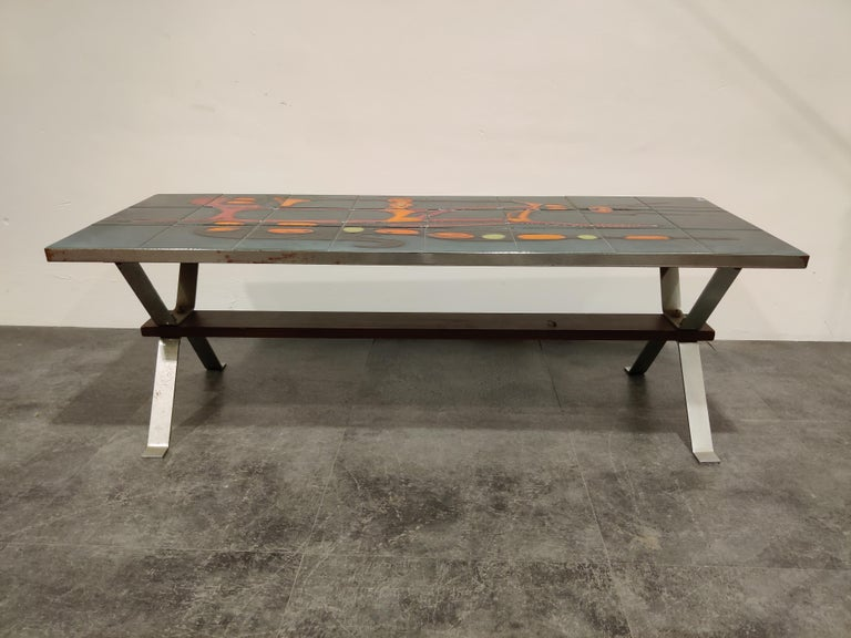 Mid-20th Century Midcentury Ceramic Coffee Table by Adri, 1960s For Sale
