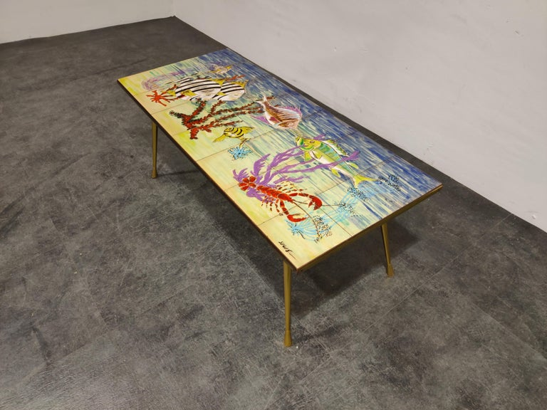Mid-Century Modern Midcentury Ceramic Coffee Table by Sigis, 1960s For Sale