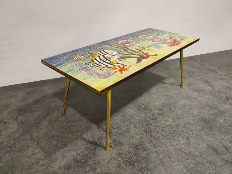 Italian Midcentury Ceramic Coffee Table by Sigis, 1960s For Sale