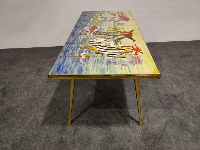 Mid-20th Century Midcentury Ceramic Coffee Table by Sigis, 1960s For Sale
