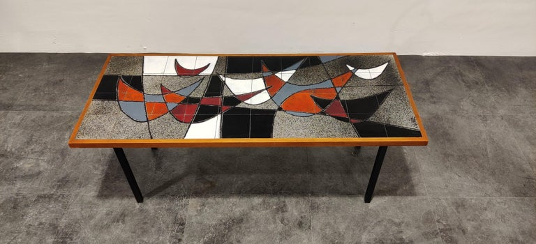 Mid-20th Century Midcentury Ceramic Coffee Table by Vigneron, 1960s For Sale
