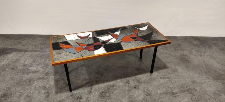 Midcentury Ceramic Coffee Table by Vigneron, 1960s For Sale 1