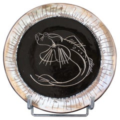Mid-Century Ceramic Decorative Plate by Claude Vayssier for Atelier Cerenne