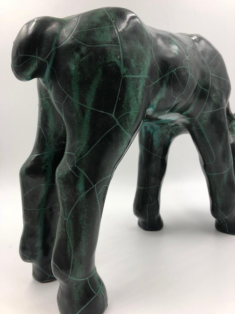 20th Century Midcentury Ceramic Horse Sculpture Dark Green Crackle Glazed For Sale