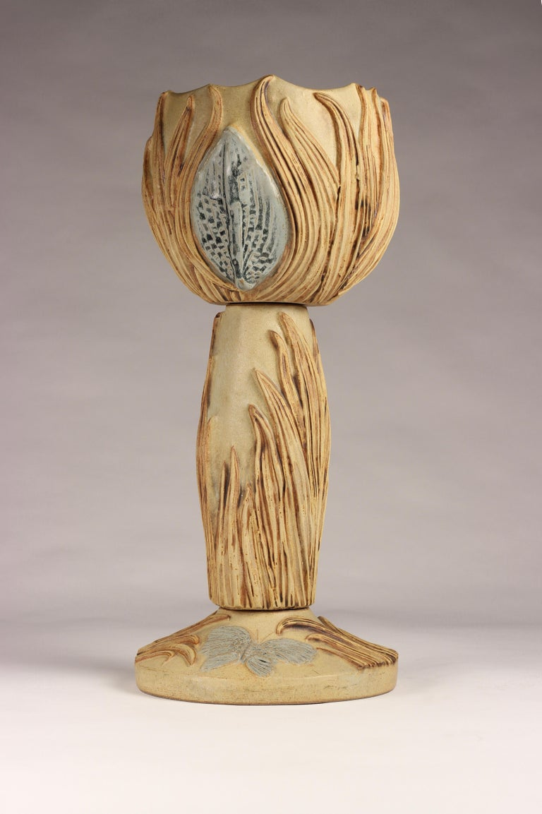 Brutalist Midcentury Ceramic Jardinière by Bernard Rooke For Sale