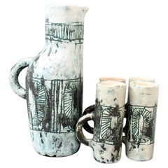 Mid-Century Ceramic Pitcher and Set of Drinking Cups by Jacques Blin, circa 1950