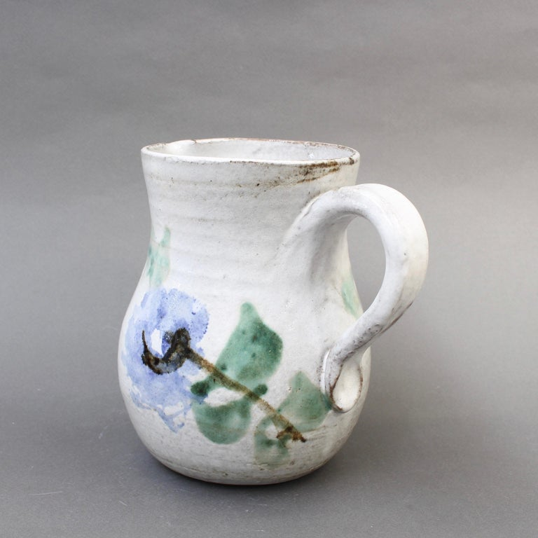 Hand-Painted Midcentury Ceramic Pitcher by Albert Thiry, 'circa 1960s' For Sale