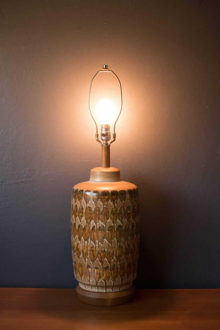 Mid-20th Century Mid Century Ceramic Pottery Glazed Lamp For Sale
