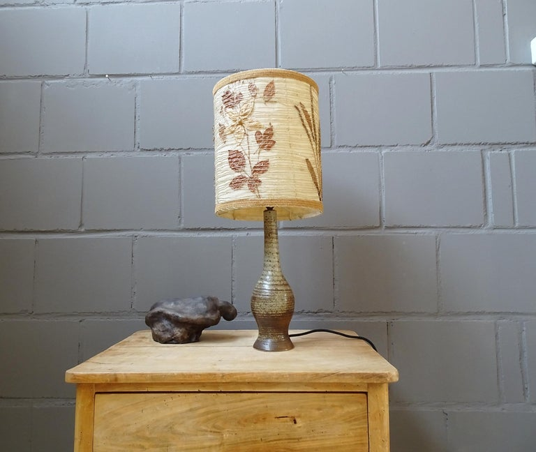 French Midcentury Ceramic Table Lamp by Jean Tessier Vallauris, France, 1960s For Sale