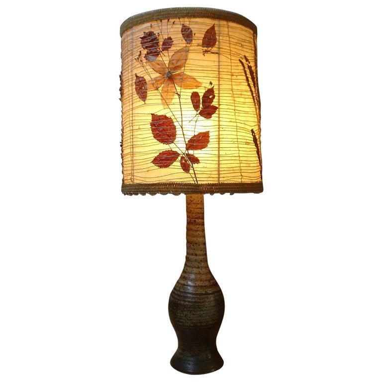 Midcentury Ceramic Table Lamp by Jean Tessier Vallauris, France, 1960s For Sale