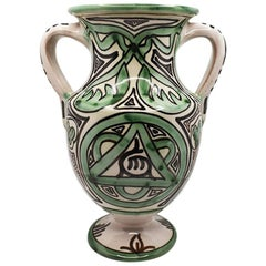 Mid Century Ceramic Vase in Green Black and Cream Signed, Spain