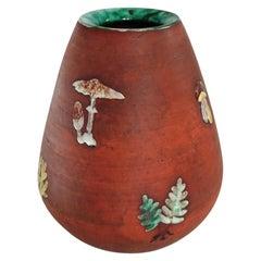 Midcentury Ceramic Vase with Mushrooms and Ferns, Sweden