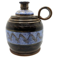 Mid Century Ceramic Vessel Vase or Carafe in Blue and Brown, Signed