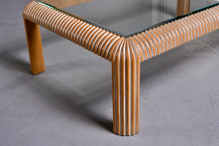 Mid-Century Modern Mid Century Cerused Coffee Table with Reeded Legs and Glass Top For Sale
