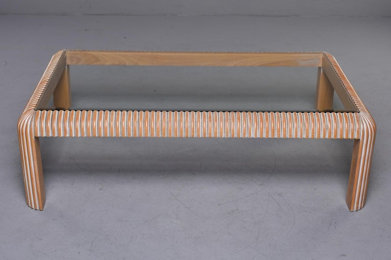 English Mid Century Cerused Coffee Table with Reeded Legs and Glass Top For Sale
