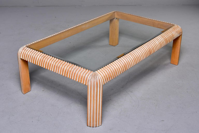 20th Century Mid Century Cerused Coffee Table with Reeded Legs and Glass Top For Sale