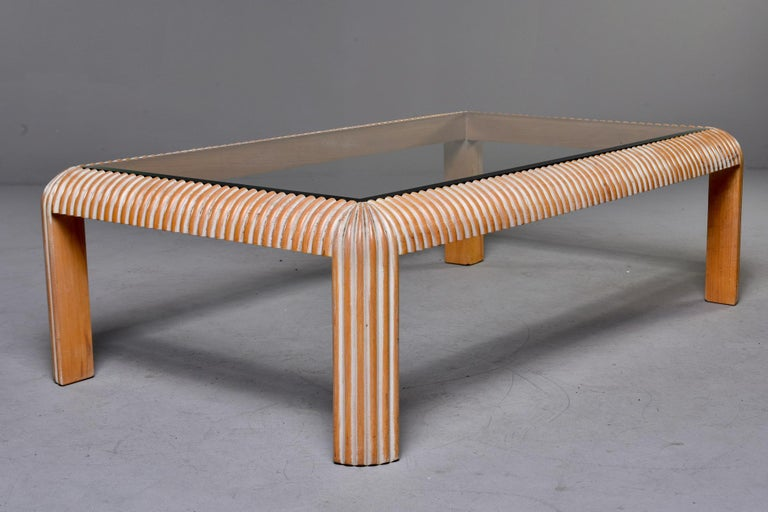 Mid Century Cerused Coffee Table with Reeded Legs and Glass Top For Sale 1